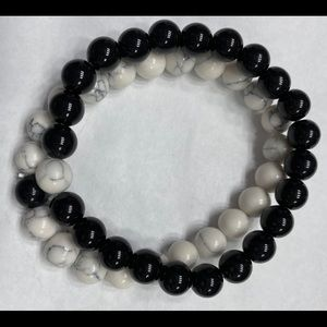 Black and white turquoise bead bracelets